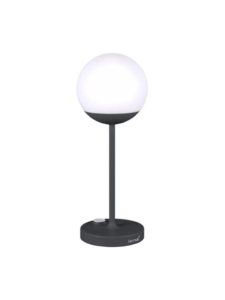 Mobiele dimbare LED tafellamp Mooon, Lampvoet: gelakt aluminium, Lampenkap: polyethyleen, Wit, antraciet, Ø 14 x H 41 cm