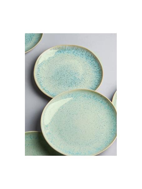 Handbeschilderde ontbijtborden Areia met reactief glazuur, 2 stuks, Keramiek, Mintkleurig, gebroken wit, beige, Ø 22 cm
