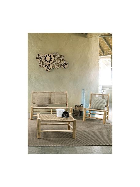 Divanetto da esterno 2 posti Lampok, Struttura: legno di teak, Beige, Larg. 120 x Alt. 79 cm