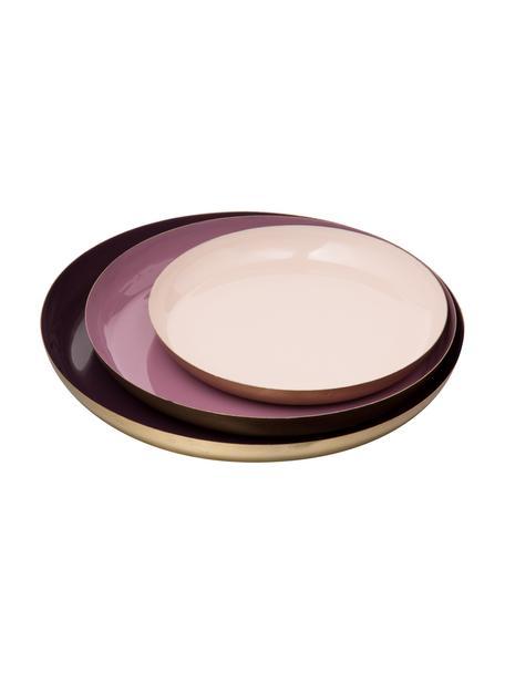 Decoratieve dienbladenset Minella, 3-delig, Gelakt metaal, Lila, roze. Rand: goudkleurig, Set met verschillende formaten
