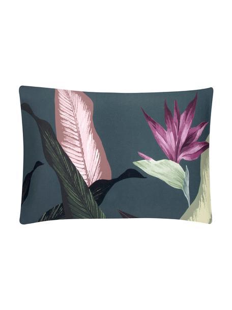 Funda de almohada de satén Flora, 50x70cm, Multicolor, gris oscuro, An 50 x L 70 cm