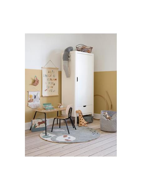 Kindertafel Oakee, Frame: gelakt metaal, Zitvlak: beukenhout met eikenhoutf, Eikenhoutkleurig, 70 x 45 cm