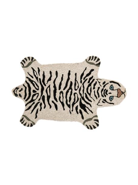 Deurmat White Tiger, Bovenzijde: kokosvezels, Onderzijde: PVC, Gebroken wit, zwart, 45 x 70 cm