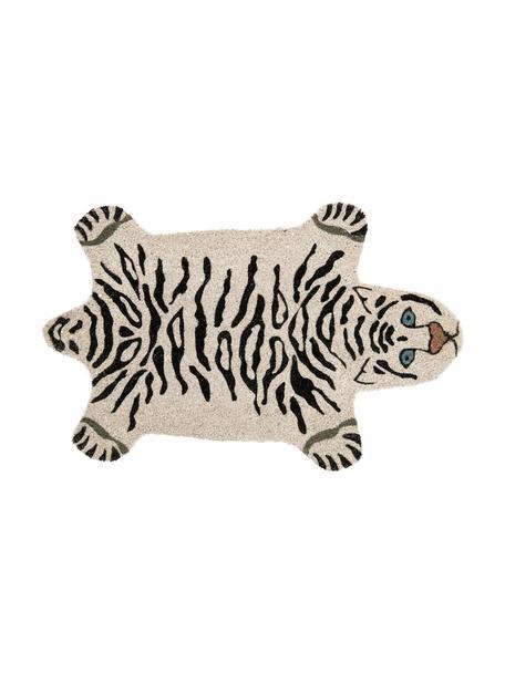 Felpudo White Tiger, Parte superior: fibras de coco, Reverso: PVC, Blanco crudo, negro, An 45 x L 70 cm