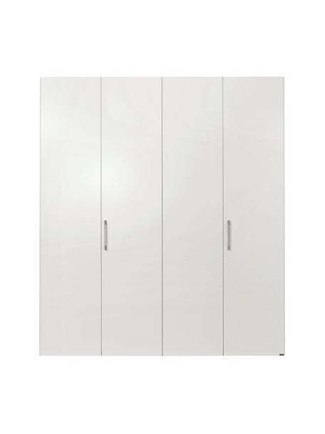 Kledingkast Madison met 4 deuren in wit, Frame: panelen op houtbasis, gel, Wit, 202 x 230 cm