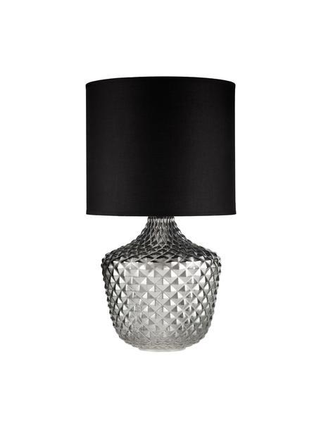 Grote tafellamp Brilliant Jewel van glas, Lampenkap: stof, Lampvoet: glas, Wit, zwart, Ø 32 x H 56 cm