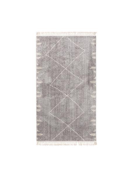 Hoogpolig vloerkleed Bosse met boho patroon en franjes, 100% polyester, Grijs, crèmewit, B 80 x L 150 cm (maat XS)