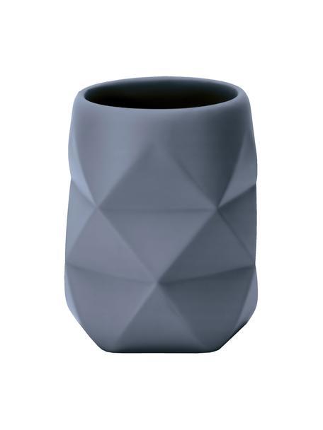 Kubek na szczoteczki z poliresingu Crackle, Poliresing, Niebieski, Ø 8 x W 10 cm