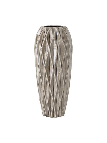 Jarrón de suelo artesanal de gres Tigan, Gres esmaltado, Gris, Ø 20 x Al 49 cm