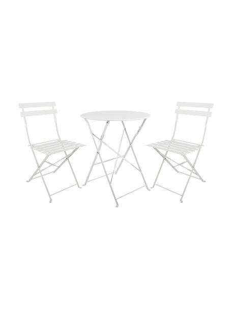 Muebles de balcón de metal Chelsea, 3pzas., Metal, pintado en polvo, Blanco, Set de diferentes tamaños