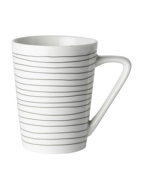 Tazza da tè con decoro a righe Eris Loft 4 pz, Porcellana, Bianco, nero, Ø 8 x Alt. 10 cm