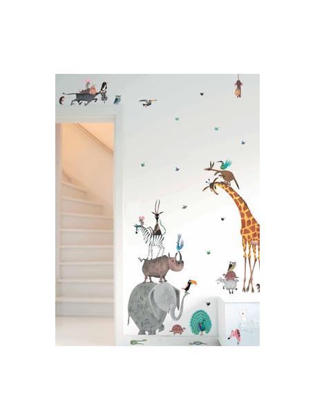 Wandstickersset Animals, 39-delig, Zelfklevende vinyl folie, mat, Multicolour, Set met verschillende formaten