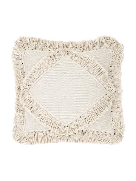 Boho kussenhoes Kaheka in ecru met franjes, 100% katoen, Ecru, 45 x 45 cm