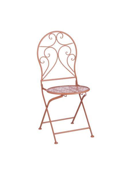 Klapbare balkonstoelen Ninet, 2 stuks, Gecoat metaal, Terracottakleurig, 40 x 92 cm