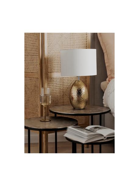 Lampa stołowa Eleanora, Biały, odcienie złotego, Ø 28 x W 45 cm