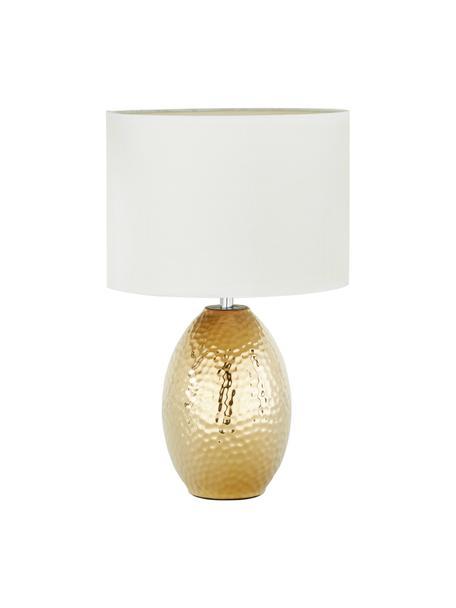 Tischlampe Eleanora in Weiß-Gold, Lampenschirm: Textil, Lampenfuß: Keramik, Weiß, Goldfarben, Ø 28 x H 45 cm