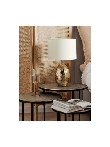 Tafellamp Eleanora in wit-goudkleurig, Lampenkap: textiel, Lampvoet: keramiek, Wit, goudkleurig, Ø 28 x H 47 cm