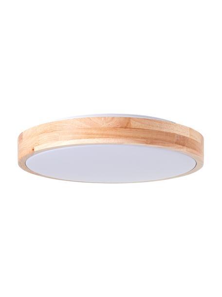 LED plafondlamp Slimline van hout, Lampenkap: hout, Diffuser: kunststof, Bruin, wit, Ø 34  x H 7 cm
