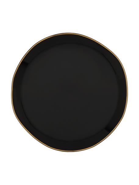 Dessertteller Good Morning in Schwarz mit goldfarbenem Rand, Ø 17 cm, Steingut, Schwarz, Goldfarben, Ø 17 cm