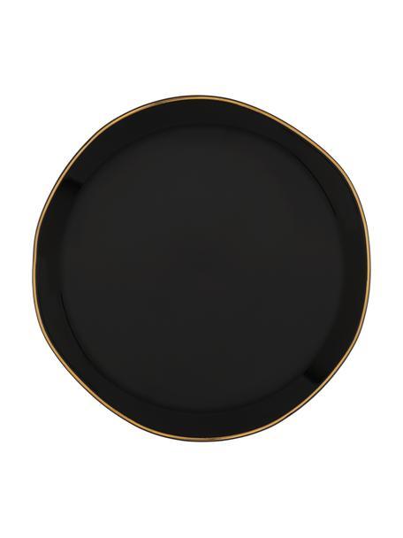 Piattino per pane nero con bordino dorato Good Morning, Ø17 cm, Gres, Nero, dorato, Ø 17 cm