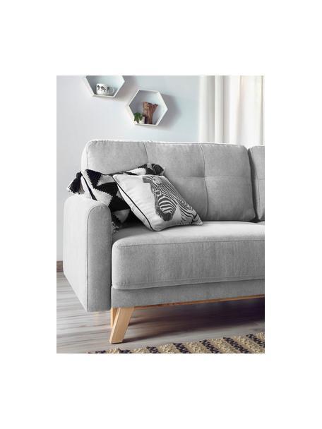 Divano letto 3 posti in velluto grigio chiaro con contenitore Balio, Rivestimento: 100% velluto di poliester, Piedini: Legno, Velluto grigio chiaro, Larg. 216 x Alt. 102 cm