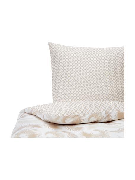 Pościel z bawełny Feather, Beżowy, biały, 135 x 200 cm + 1 poduszka 80 x 80 cm
