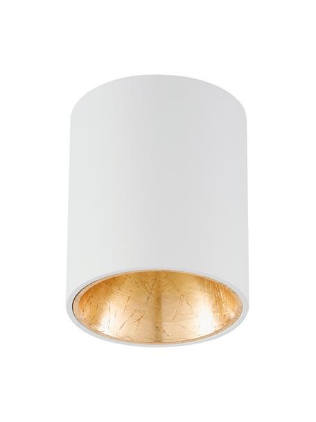 LED plafondspot Marty in wit-goudkleurig met antieke afwerking, Wit, goudkleurig, Ø 10 x H 12 cm