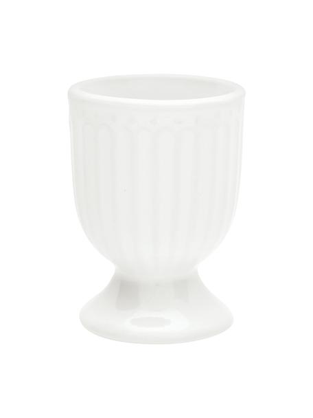 Handgemaakte eierdopjes Alice in wit met reliëfdesign, 2 stuks, Keramiek, Wit, Ø 5 x H 7 cm