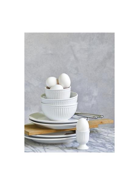 Soportes de huevo artesanales Alice, 2uds., Gres, Blanco, Ø 5 x Al 7 cm