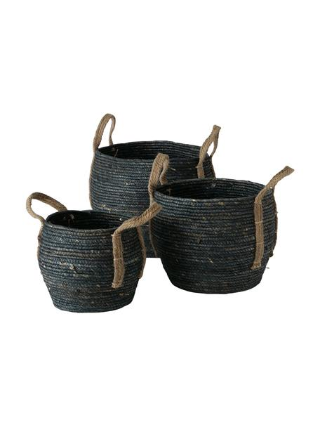 Handgemaakte opbergmandenset Takeo, 3-delig, Mand: maïsschilvezels, Handvatten: jute, Zwart, Set met verschillende formaten