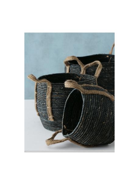 Komplet ręcznie wykonanych koszy do przechowywania Takeo, 3 elem., Czarny, Komplet z różnymi rozmiarami