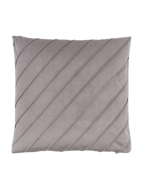 Federa arredo in velluto grigio chiaro con motivo Leyla, Velluto (100% poliestere), Grigio, Larg. 40 x Lung. 40 cm