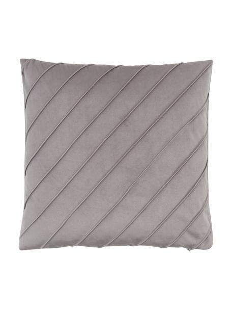Samt-Kissenhülle Leyla in Hellgrau mit Struktumuster, Samt (100% Polyester), Grau, 40 x 40 cm
