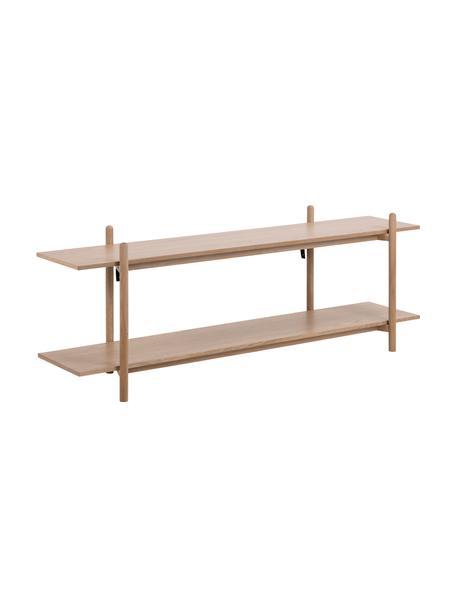 Tv-meubel Asbaek van hout met 2 planken, MDF met eikenhoutfineer, Bruin, 150 x 55 cm