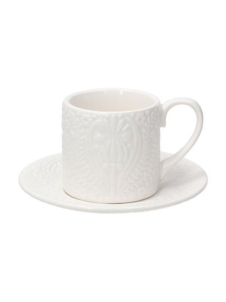 Tazza da espresso in porcellana con piattini con ornamento in rilievo Ornament 6 pz, Porcellana, Bianco, Ø 6 x Alt. 4 cm