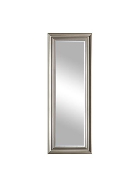 Eckiger Wandspiegel Haylen mit silbernem Kunststoffrahmen, Rahmen: Kunststoff, Spiegelfläche: Spiegelglas, Silberfarben, 48 x 132 cm