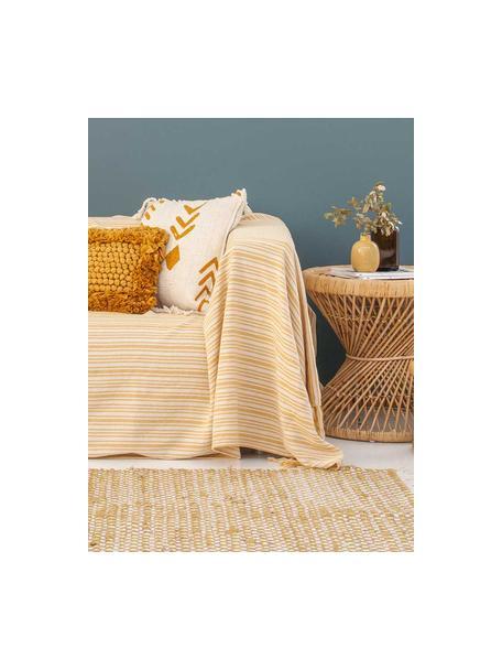 Copriletto in cotone a righe con frange Puket, 100% cotone, Giallo senape, bianco latteo, Larg. 240 x Lung. 260 cm (per letti da 160 x 200)