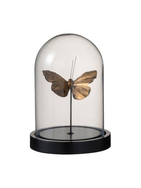 Decoratief object Butterfly, Object: kunststof, Stolp: glas, Goudkleurig transparant, zwart, Ø 12 x H 17 cm