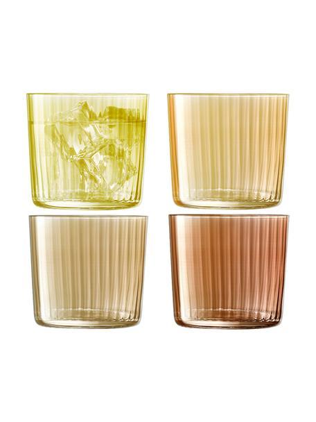 Vasos de colores con relieve de vidrio soplado artesanalmente Gemas, 4uds., Vidrio soplado artesanalmente, Marrón, Ø 8 x Al 7 cm