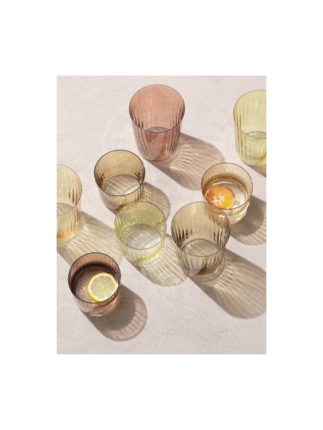 Set 4 bicchieri acqua in vetro soffiato scanalato Gemme, Vetro soffiato, Tonalità marrone, Ø 8 x Alt. 7 cm