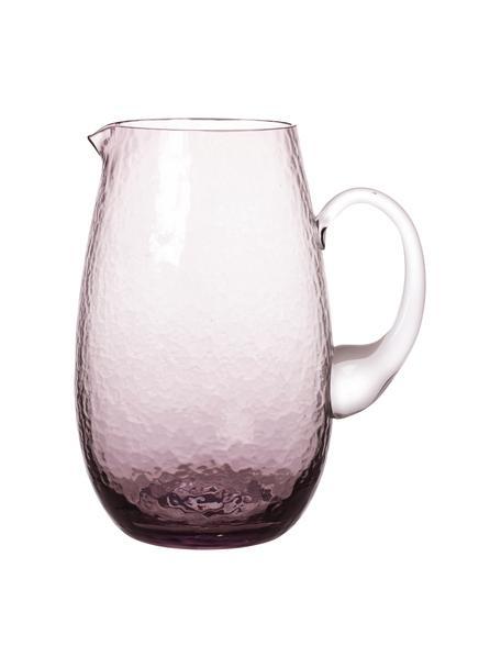 Brocca in vetro soffiato con supertifice martellata Hammered, 2 L, Vetro soffiato, Viola trasparente, Ø 14 x Alt. 22 cm