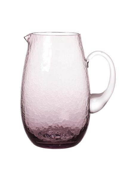 Grosser mundgeblasener Krug Hammered mit gehämmerter Oberfläche, 2 L, Glas, mundgeblasen, Lila, transparent, Ø 14 x H 22 cm