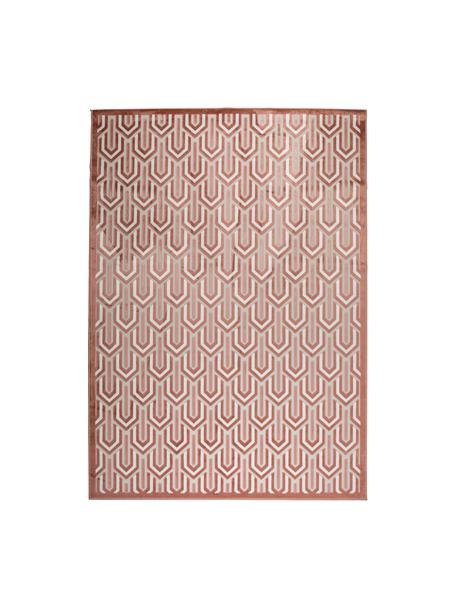 Vloerkleed Beverly met hoog-laag structuur, Bovenzijde: 57% rayon, 31% polyester,, Onderzijde: latex, Roze, oudroze, lichtbeige, B 170 x L 240 cm (maat M)