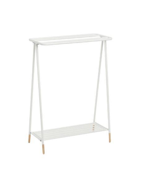 Toallero de metal Mella, Estructura: metal recubierto, Patas: madera de caucho, Blanco, An 60 x Al 85 cm