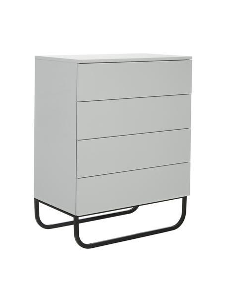 Cassettiera color grigio chiaro Sanford, Grigio chiaro, Larg. 80 x Alt. 106 cm