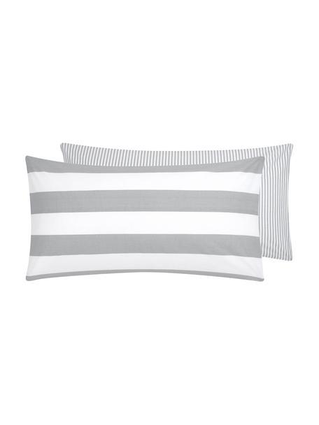 Dwustronna poszewka na poduszkę z bawełny Lorena, 2 szt., Biały, jasny szary, S 40 x D 80 cm