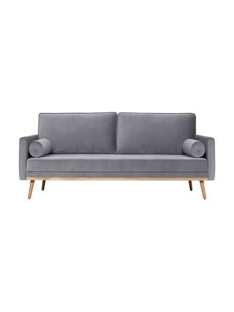Sofa z aksamitu z nogami z drewna dębowego Saint (3-osobowa), Tapicerka: aksamit (poliester) Dzięk, Aksamitny szary, S 210 x G 93 cm