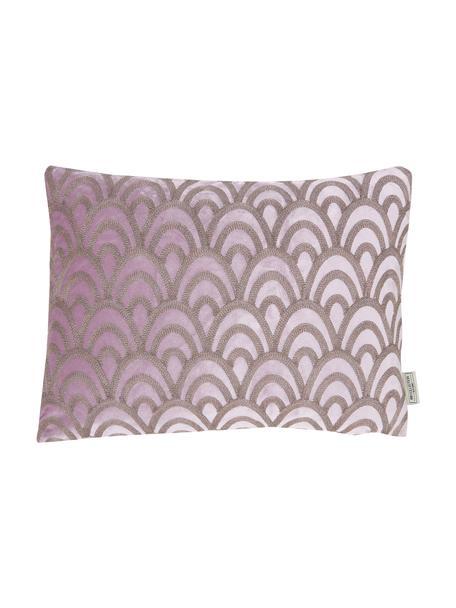 Haftowana poduszka z aksamitu  z wypełnieniem Trole, 100% aksamit (poliester), Różowy, odcienie srebrnego, S 40 x D 60 cm