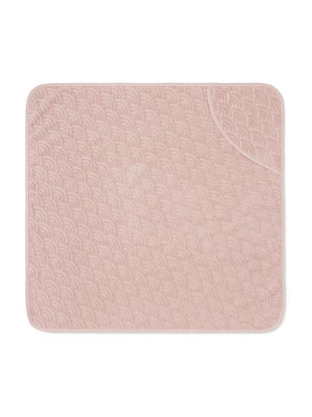 Badcape Wave van biokatoen, 100% organisch katoen, GOTS-gecertificeerd, Roze, 80 x 80 cm