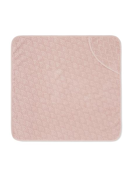 Toalla baño bebé de algodón ecológico Wave, 100%algodón ecológico, Rosa, An 80 x L 80 cm